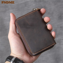 PNDME high quality crazy horse cowhide men's women's business card holder simple vintage genuine leather brown ID credit bags