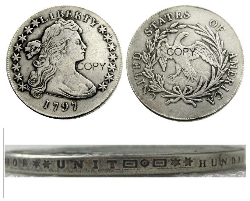 Us 1797 dólar da liberdade prata chapeado cópia moeda