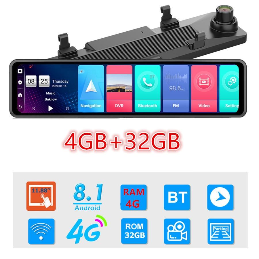 12 Inch 4G Android Rearview Mirror Car DVR HD 1080P GPS WIFI ADAS Dash Cam Dual Lens Recorder Auto Camera Registrar DVRs