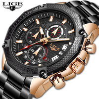 LIGE New Men Watches Top Brand Luxury Stainless Steel Date Chronograph Male Quartz Watch Mens Casual Sport Waterproof Watch 2019