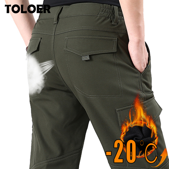 Fleece Warm Winter Cargo Pants Men 2019 Winter Thermal Pant Outdoor Sports Climbing Cycling Camping Thick Multi-pocket Trouser 21