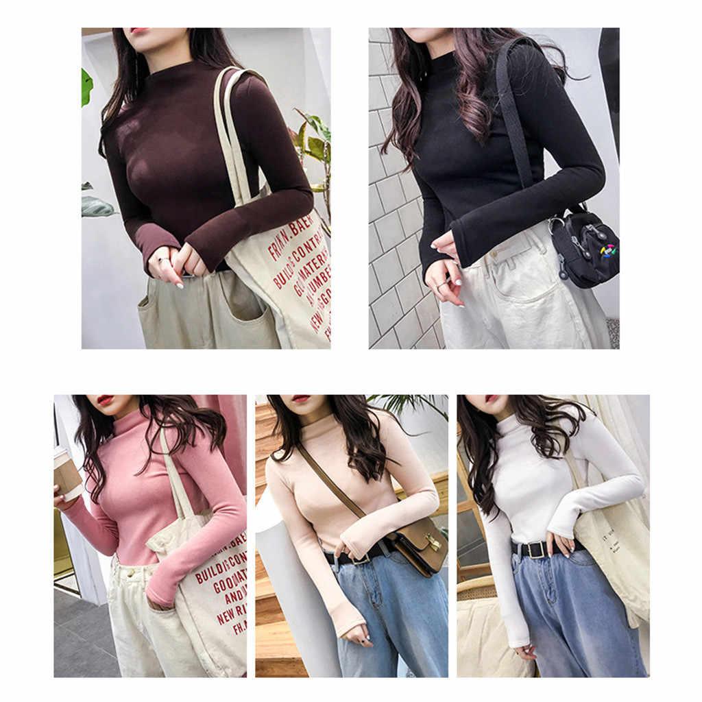 새로운 긴팔 하프 칼라 솔리드 컬러 얇은 벨벳 bottoming 셔츠 세트 패션 트렌드 슬림 따뜻한 스웨터 # yl10