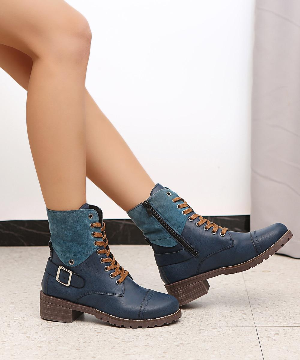 British Style Fashion Zipper Flat Shoes Woman Boot High Heel Platform PU Leather Boots Lace Up Women Shoes Botas Mujer Girls 4