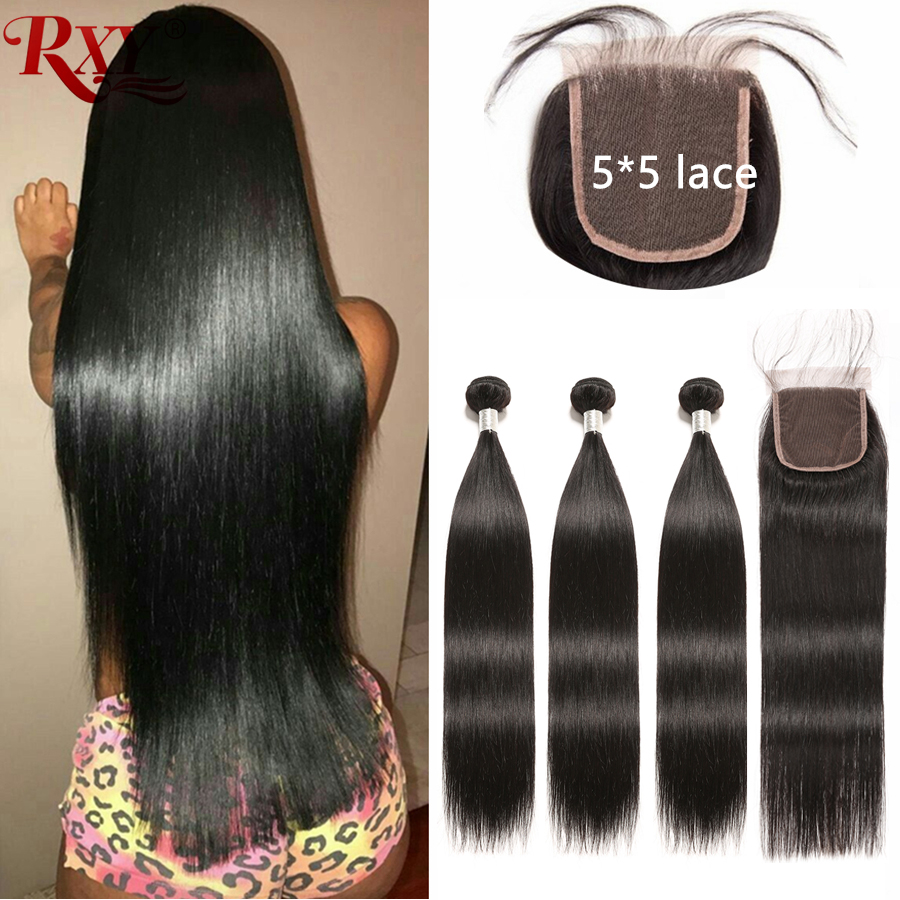 Brazilian Straight Hair Bundles With Closure 5x5 Lace Closure Human Hair Bundles 3 Bundles with Closure  Remy Hair Weaves RXY-in 3/4 Bundles with Closure from Hair Extensions & Wigs    1