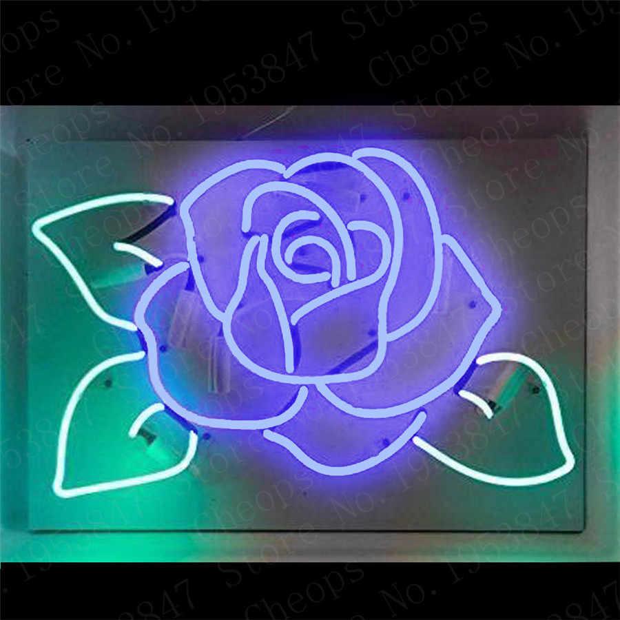 Blau Rose Blumen Geschenk Neon Zeichen Echt Glasrohr Mond und Sterne Bier Bar Pub Homeroom Girlsroom Party Decor 16x12
