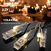 Guirnalda de luces LED con Clip para tarjetas y fotos para Navidad, Año Nuevo, batería para fiestas, boda, casa, Hada de la decoración, luces