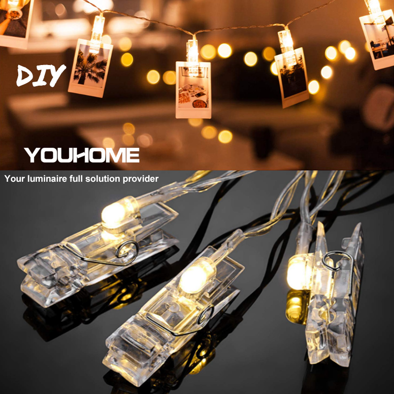 LED String Lights LED Garland Card Photo Clip Holder For Christmas New Year Wedding Party Battery Home Decoration Fairy Lights