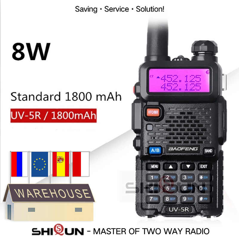 Facultatif 5W 8W Baofeng UV-5R Talkie-walkie 10 km Baofeng uv5r talkie-walkie chasse Radio uv 5r Baofeng UV-9R UV-82 UV-8HX UV-XR