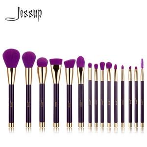 Image 1 - Jessup Brushes 15pcs Purple/Darkviolet Makeup Brushes Set Powder Foundation Eyeshadow Eyeliner Lip Contour Concealer Smudge