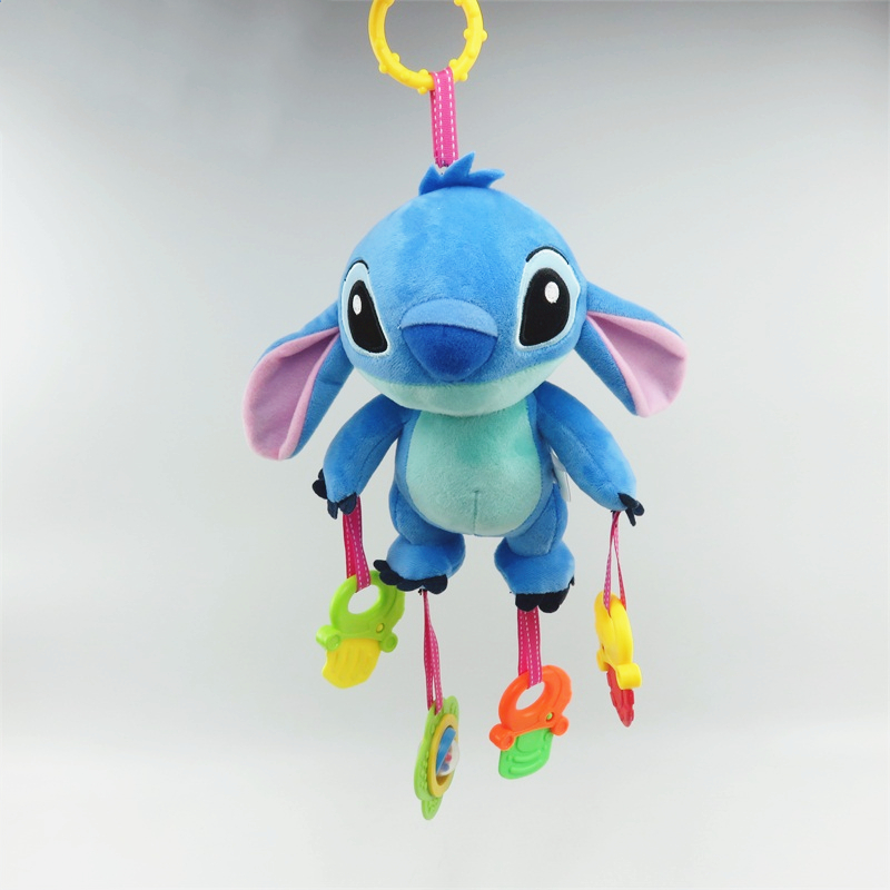 Cartoon Stitch Owl Plush Toys Baby Rattle Hand Bell Baby Stroller Crib Hanging Rattles Soothing Doll Christmas Birthday Gifts
