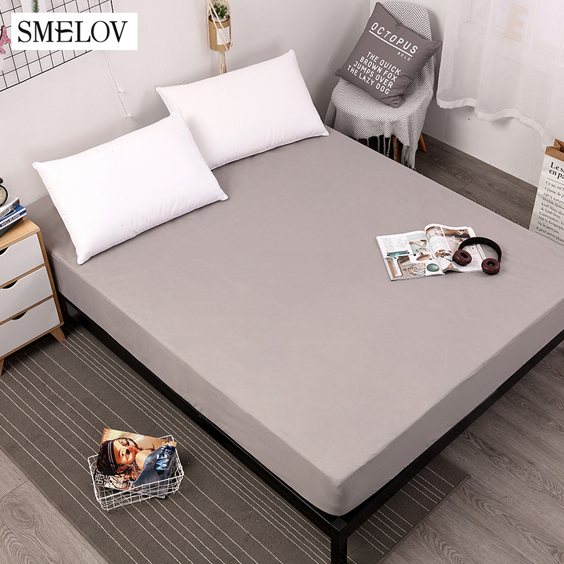 Solid Elastic Bed Mattress Cover Waterproof Mattress Protector Pad Covers Double Queen King Size Bed Mattress Cover Bedspreads