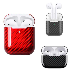 Image 1 - Real Carbon Fiber Case For AirPods 2 for AirPods Pro Wireless Earphone Charging Case Carbon Fiber LED Cover Accessories