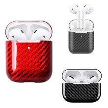 Real Carbon Fiber Fall Für AirPods 2 für AirPods Pro Drahtlose Kopfhörer Lade Fall Carbon Fiber LED Abdeckung Zubehör