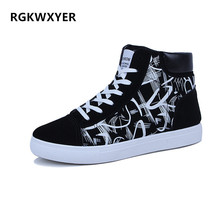 RGKWXYER New Men Casual Shoes High Top Vulcanized Sneakers Men Boots Comfortable Quality High Top Shoes Student Flat Shoes 2019