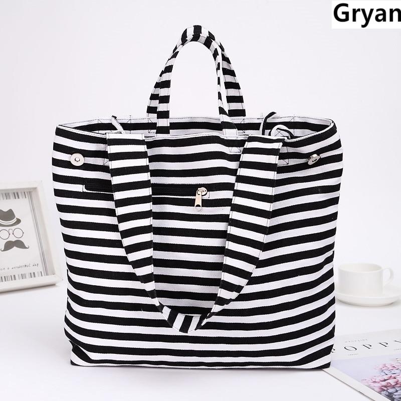 Классическая парусиновая модная прочная Женская хозяйственная сумка через плечо в черно-белую полоску льняная хлопчатобумажная