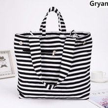 Classic Canvas Fashion Durable Women Black and white stripes Shoulder Bag Shopping Tote Flax Cotton Bags Maximal