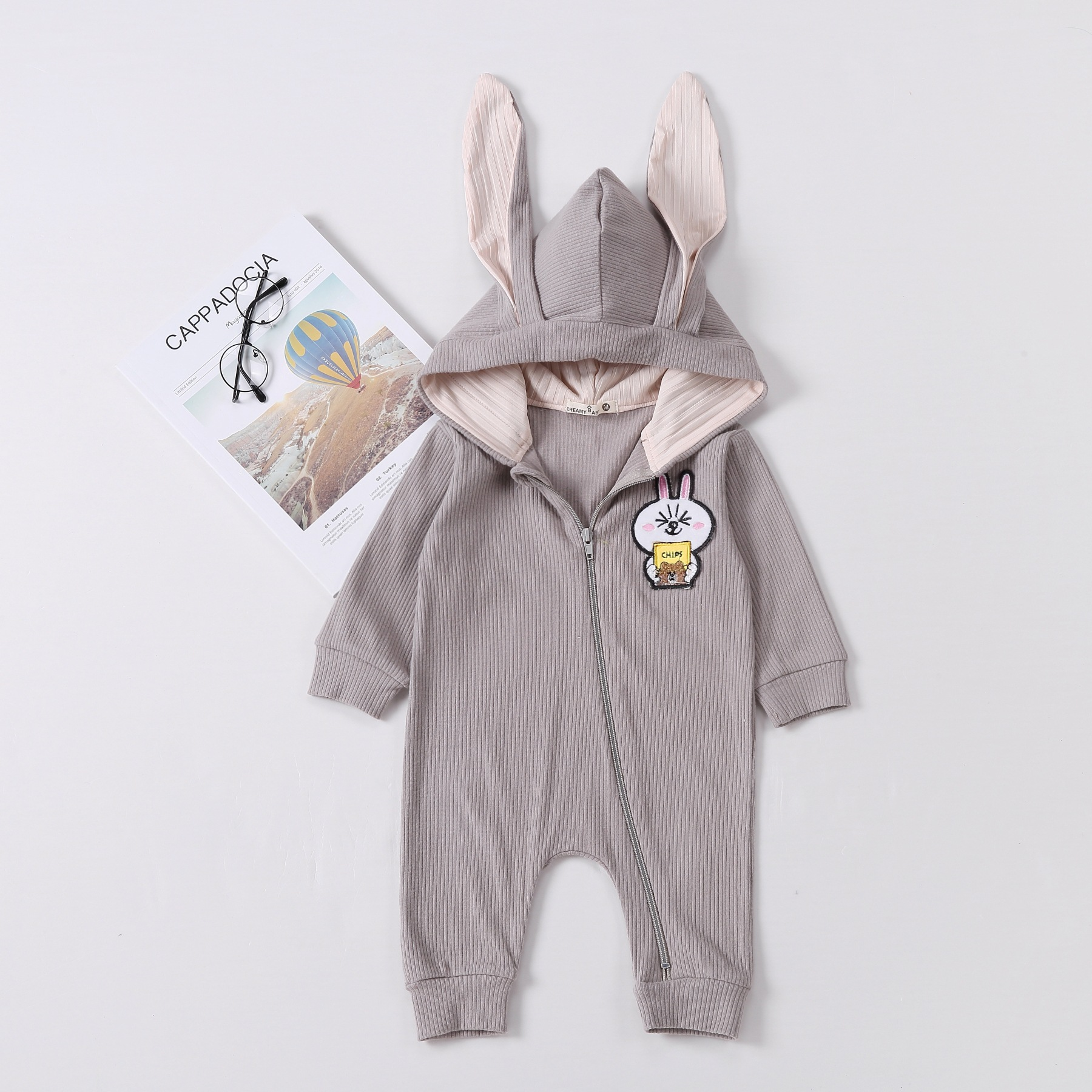 Spring And Autumn Long Sleeve Pure Cotton Knitted Fabric Striped Cloth Clothes For Babies Baby Rabbit Modeling Baby Hooded Zippe