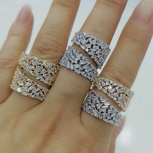 GODKI Luxury Corssover Chic Bold Statement Rings with Zirconia Stones 2020 Women Engagement Party Jewelry High Quality