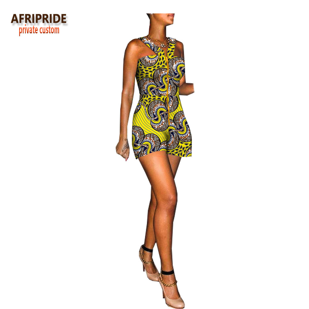 2020 Summer African Jumpsuit For Women AFRIPRIDE Sleeveless Mini Length Women Cotton Jumpsuit With Front Metal Zipper A1829005