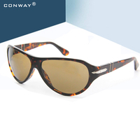 CONWAY Large Sunglasses for Women Men Flat Top Aviation Driving Sun Glasses Bold Acetate Frame Retro Brand Designer Black/Havana