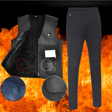 2019 Men Women Outdoor USB Infrared Heating Vest Jacket +Heated Pants Sets Women Winter Flexible Electric Thermal Clothing S-5XL cheap Cotton Breathable heated sets Fits true to size take your normal size stretchA electric heated jacket set women men USB Heated vest
