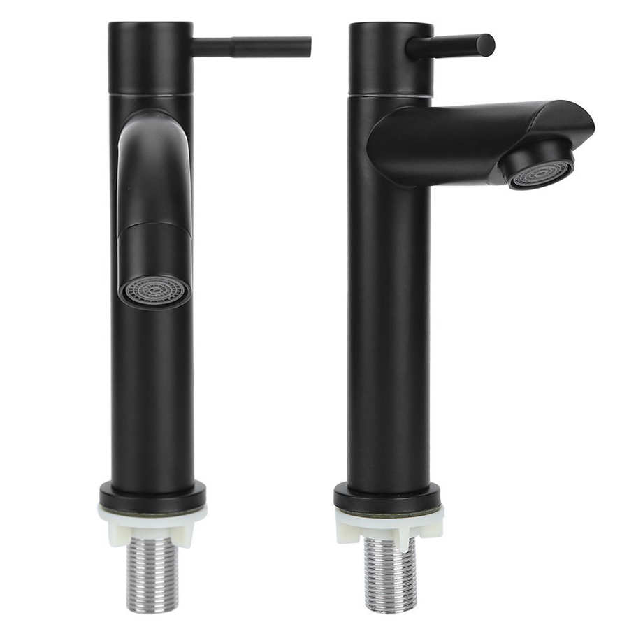 He7469e524b5c49f68260f55d62fbd365T G1/2in Black Kitchen Sink Faucet Stainless Steel Washbasin Faucets Single Cold Water Tap for Kitchen Bathroom basin water taps