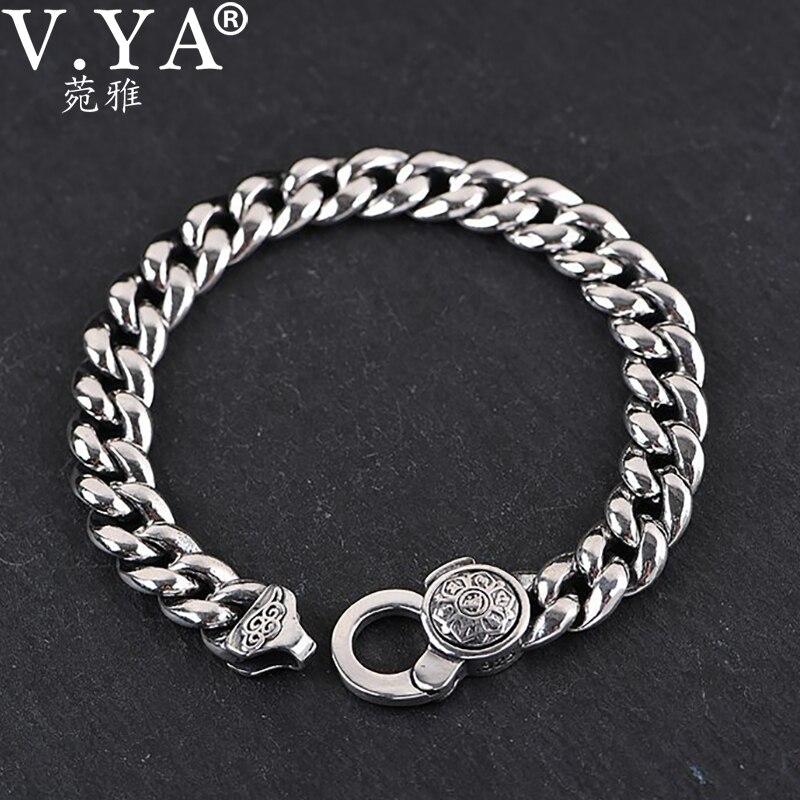 V. YA 925 argent Miami lien cubain hommes Bracelet en argent Six mots Bracelet & bracelets Pulseira bileklik bijoux masculins 18-21CM