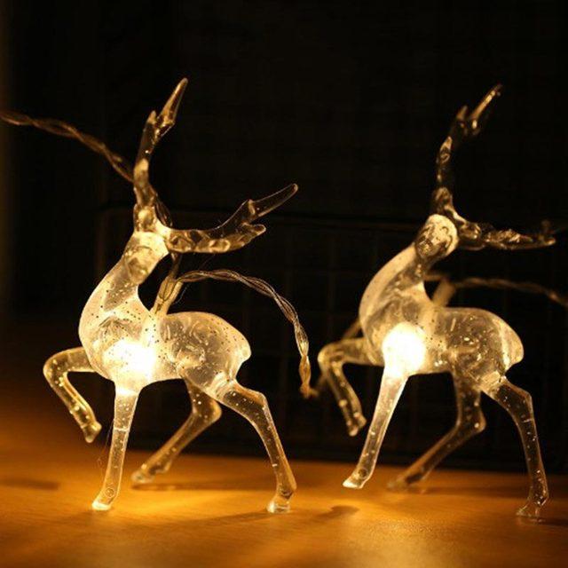 Рождественская гирлянда Sika в виде оленя, светодиодная гирлянда с батарейным отсеком, праздничное украшение, гирлянда для дома, фестиваля, улицы, рождевечерние