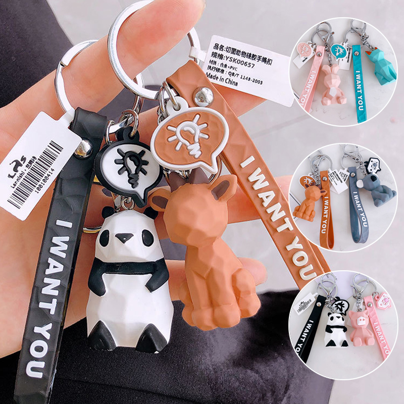 New Arrival 1PC Keychain New Fashion Bag Letters Key Ring Panda Student Cute Dinosaur Animal Resin Car