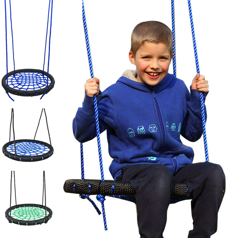 Children Round Nest Nest Swing Indoor And Outdoor Hanger Children Net Rope Stout Swing Baby Toys Bearing 200 kg Diameter 60cm TB