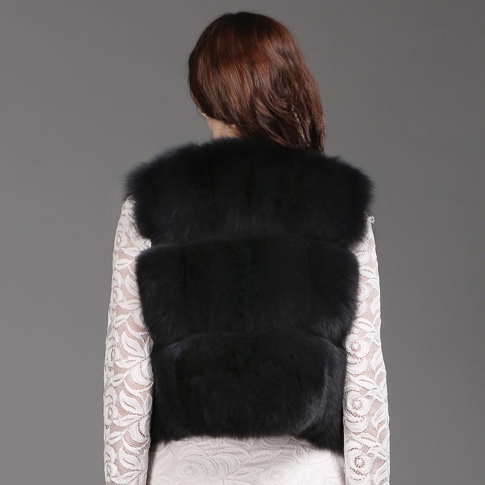 Mulheres Moda Real Fox Fur Vest 100% Natural Fox Fur Colete Macio 2019 Novo Outono Inverno Quente Senhora Curto Genuína colete de Pele De raposa - 4