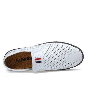 Image 2 - Valstone رائجة البيع الرجال الصيف Mocassins 2020 أحذية جلدية بدون كعب الانزلاق على حذاء كاجوال لينة مريحة محرك الشقق الأبيض تنفس