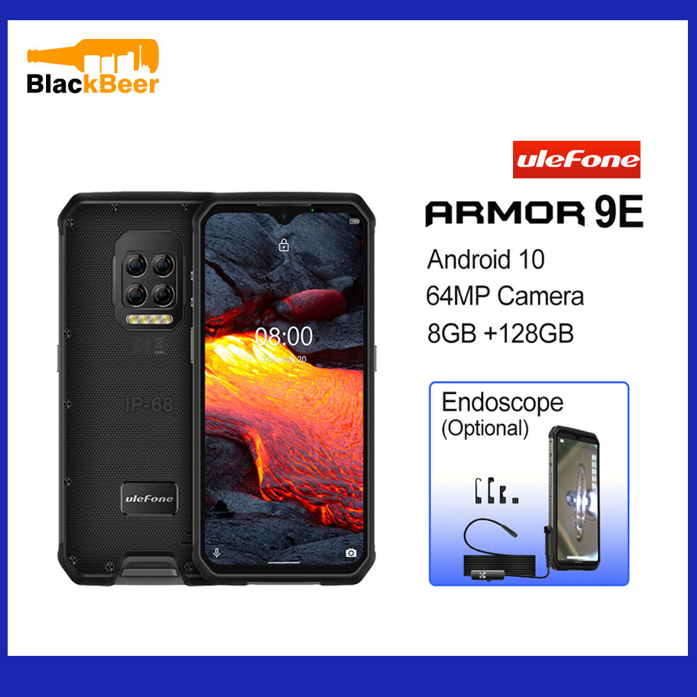 Ulefone Armor 9E 6.3″ IP68 Rugged Mobile Phone Helio P90 Android 10 Smartphone 8GB 128GB Cellphone 6600mAh 64MP Quad Cameras NFC