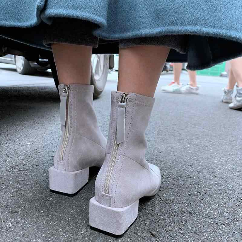 Superstar kare ayak akın med topuklu fermuar kadın yarım çizmeler zarif elbise katı streç çizmeler ofis bayan sıcak kış ayakkabı L36