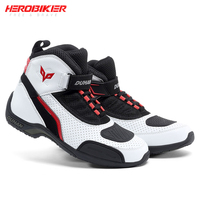 HEROBIKER-Botas de Moto de malla para hombre, zapatos de Motocross todoterreno, botas para motocicleta, color blanco y negro, de verano