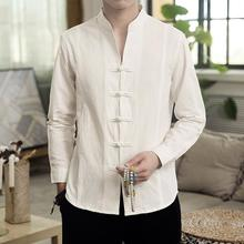 Long-sleeved Blouse Men's Shirt Chinese style Button Collar Slim Linen Shirt for Men's clothing Autumn 2019men slim plain long sleeved fashionable stand up collar shirt and shirt