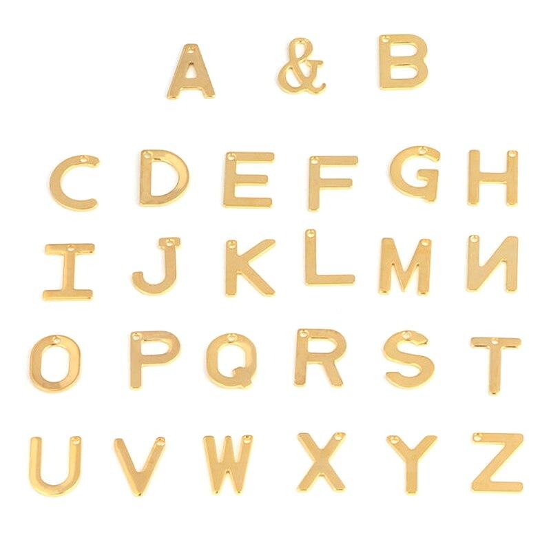 20 pçs A-Z 26 carta inicial pingente de aço inoxidável carta ouro encantos pingente para diy jóias fazendo brincos pulseira colar