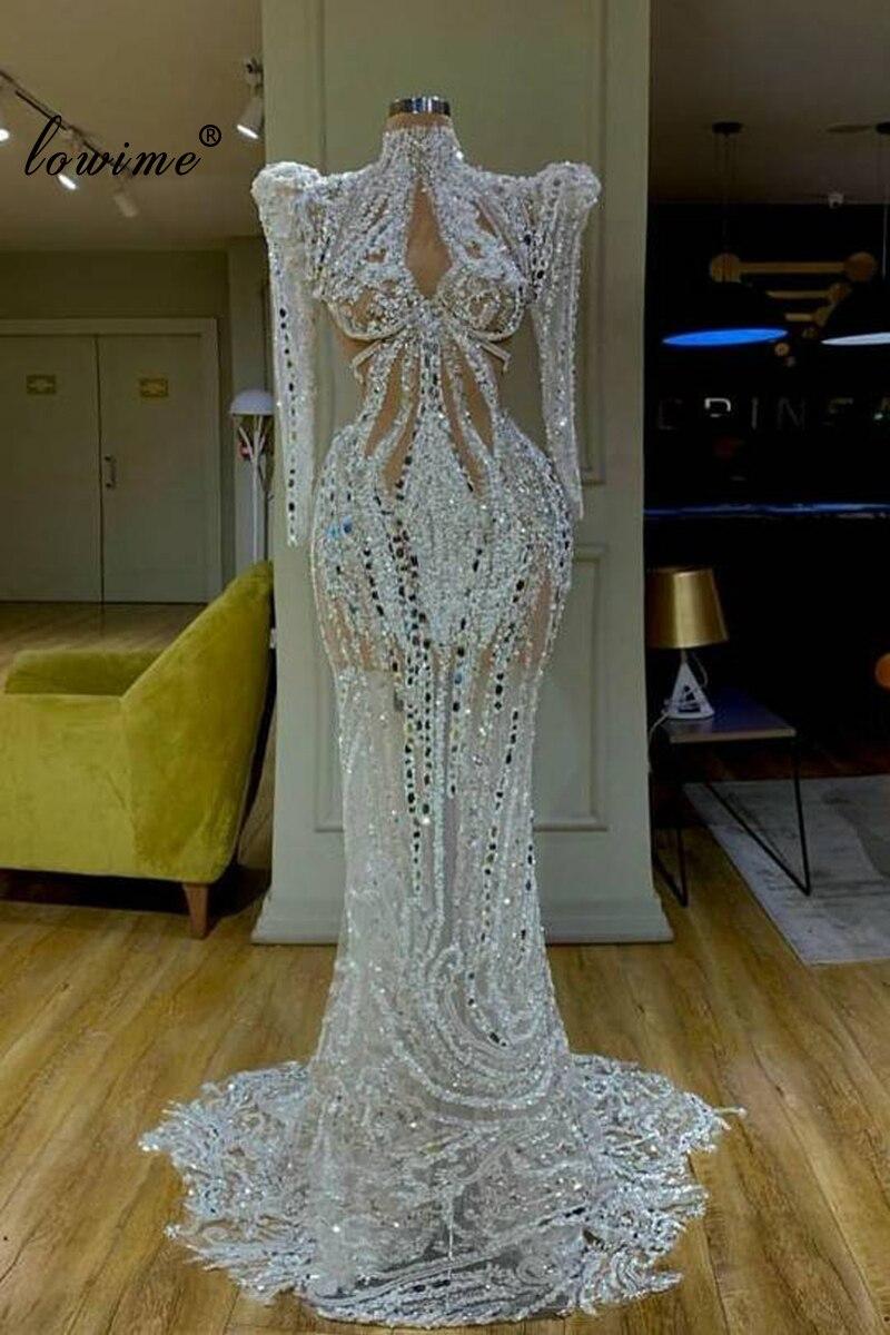 Dubai Transparent Prom Dress 2020 Mermaid Crystal Beading Gece Elbisesi Arabic Sexy Evening Gowns Long Formal Celebrity Vestido