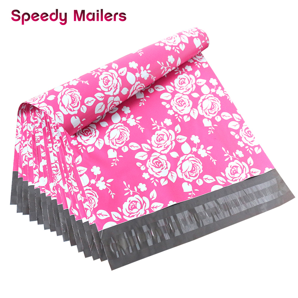 10 PCS 10x13 Rose Poly Mailer Envelopes Shipping Bags With Pink Rose Design, Waterproof And TearProof Postal Printed Bags