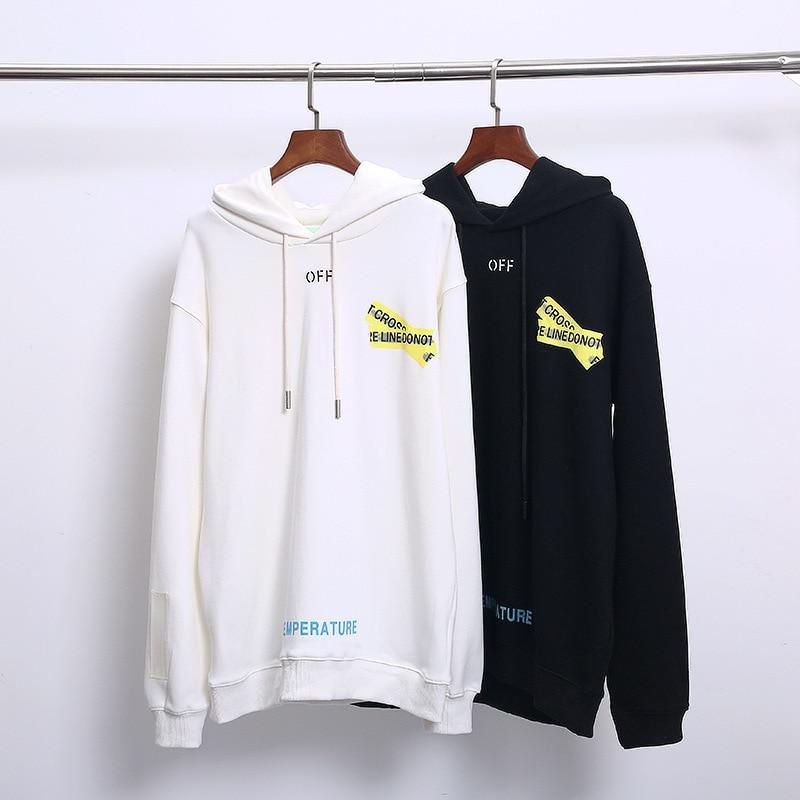 HOT classique blanc cassé jaune cordon OW flèche streetwear Hip hop hommes sweat à capuche pour femme ensemble