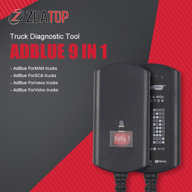Эмулятор 8 в 1 для грузовиков Adblue, с адаптером для программирования Nox, ADBLUE, 8 в 1, 9 в 1, диагностический инструмент для грузовиков