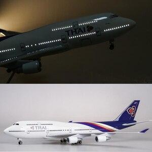 1/150 skala 47CM B747 model samolotu Thai Airways model samolotu ze światłem i kółkami model samolotu żywicznego do kolekcji prezent