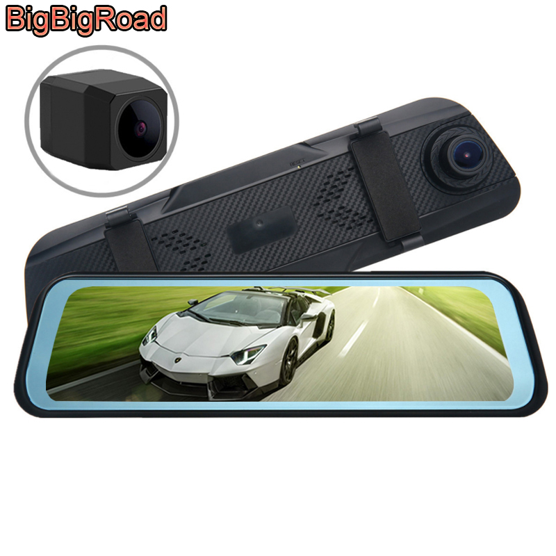 BigBigRoad For <font><b>Peugeot</b></font> 2008 208 3008 301 308 <font><b>408</b></font> 5008 508 4008 206 308S Car DVR Dash Cam Stream RearView <font><b>Mirror</b></font> IPS Touch Screen image