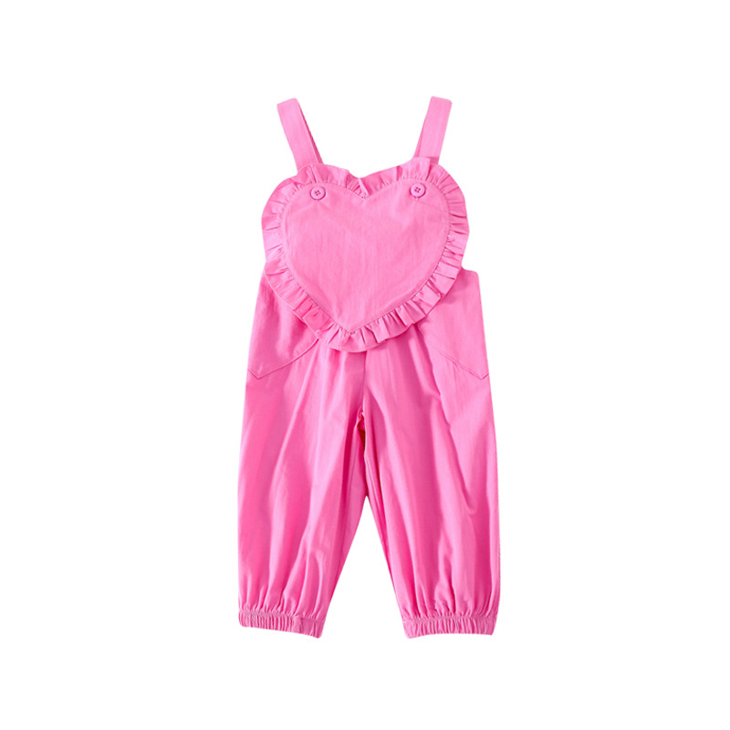 2021 Spring New Arrival Girls Fashion Cotton Overalls Kids Heart Overalls  Kids Jumpsuit 5