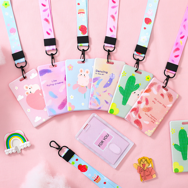 Hamster Feather Cactus Card Holder Cute Keyring Bank Card ID Bus Card Holders With Lanyard Stationery Gift Badge Holder