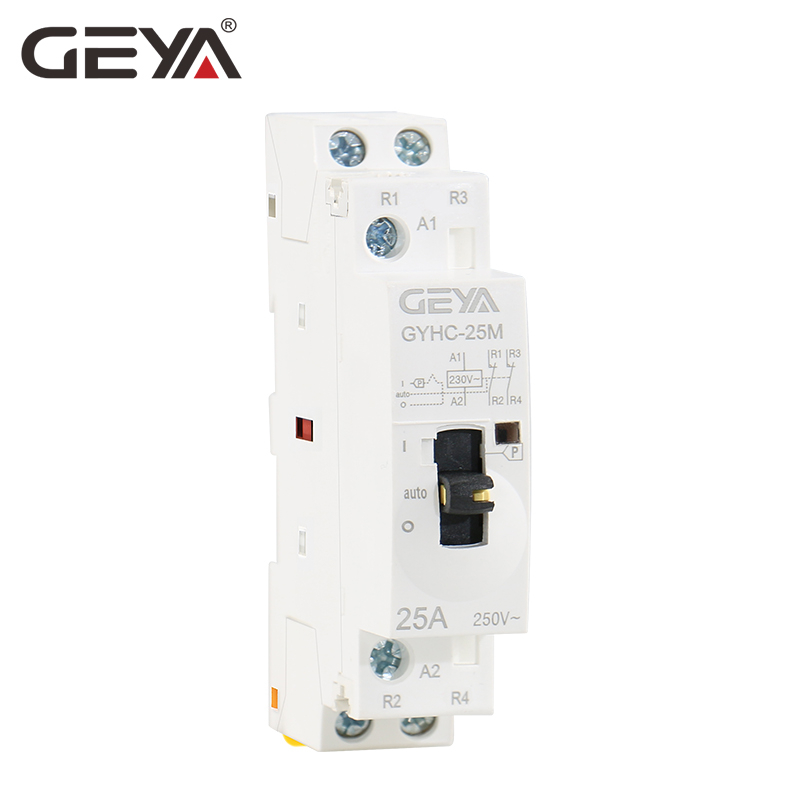 GEYA Manual <font><b>Contactor</b></font> 2P 16A 20A <font><b>25A</b></font> 2NO or 2NC <font><b>220V</b></font> 50/60Hz Manual Control Home Use AC <font><b>Contactor</b></font> Din Rail Type image