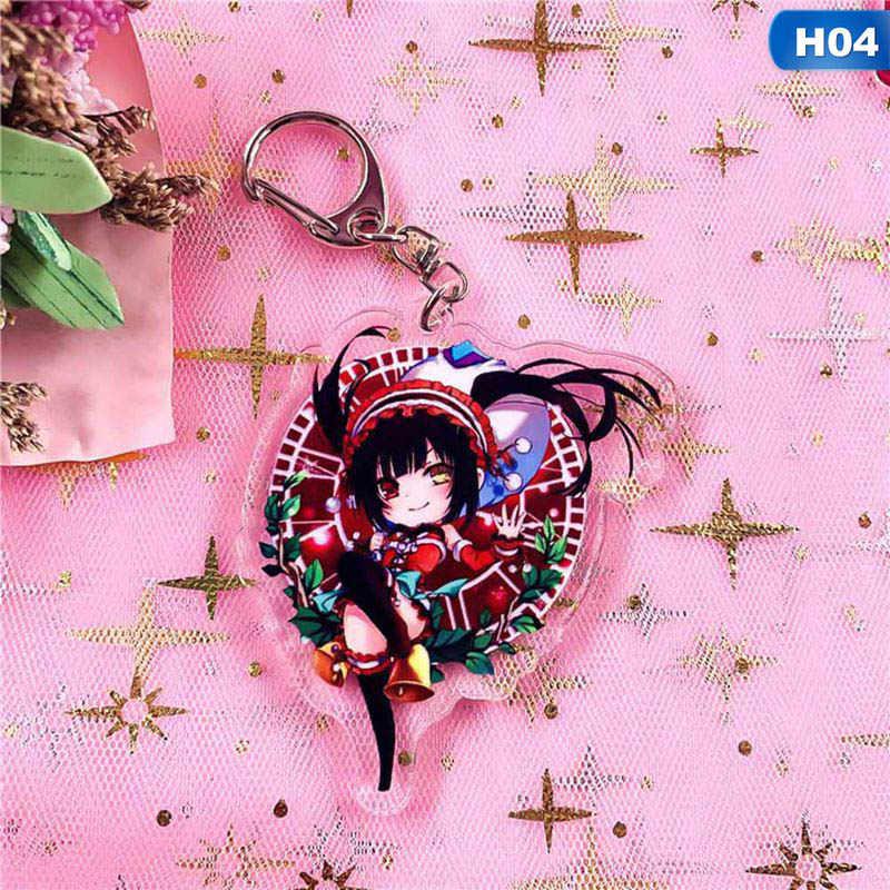 Anime Anahtarlık Tarih A Canlı Yoshino Cosplay Akrilik Anahtarlık Yatogami Tohka Tokisaki Kurumi Kolye Chaveiros Llaveros