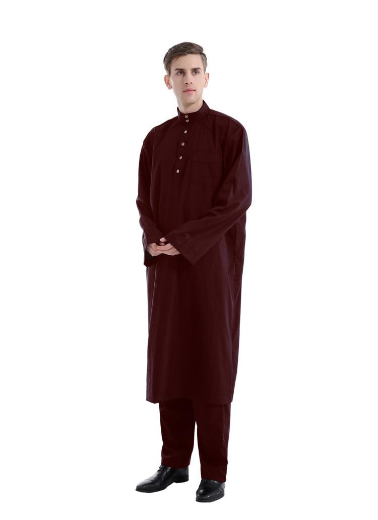 2020 Caftan Marocain Muslim Dress Men Abaya Saudi Arabia Islamic Clothing Qamis Homme Robe Musulmane Longue Ropa Hombre 2Pcs Set