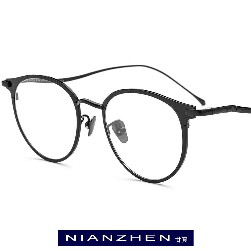 NIANZHEN Pure Titanium Eyeglasses Frame Women Retro Round Myopia Optical Eye Glasses For Men 2019 Vintage Korea Eyewear 1188