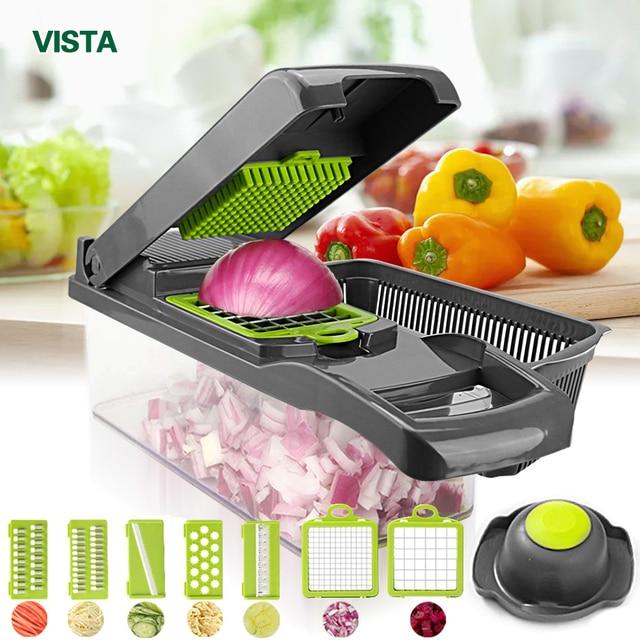 Cortador de legumes multifuncional, Ralador de cenouras, Mandolina fatiadora de frutas e batatas, Acessório de cozinha para ralar e descascar cenouras com suporte, Fatiador de Vegetais 1